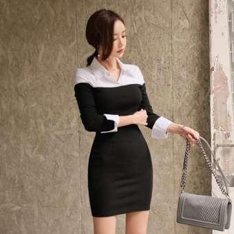 ฤดูใบไม้ร่วงหญิง 2019 ใหม่สไตล์เกาหลีมีมาดเสื้อโปโลคอปกแขนเสื้อยาวเสื้อชุดกระโปรงยาวสลิมแลดูผอมแนบสะโพกสีตัดกันชุดเดรส
