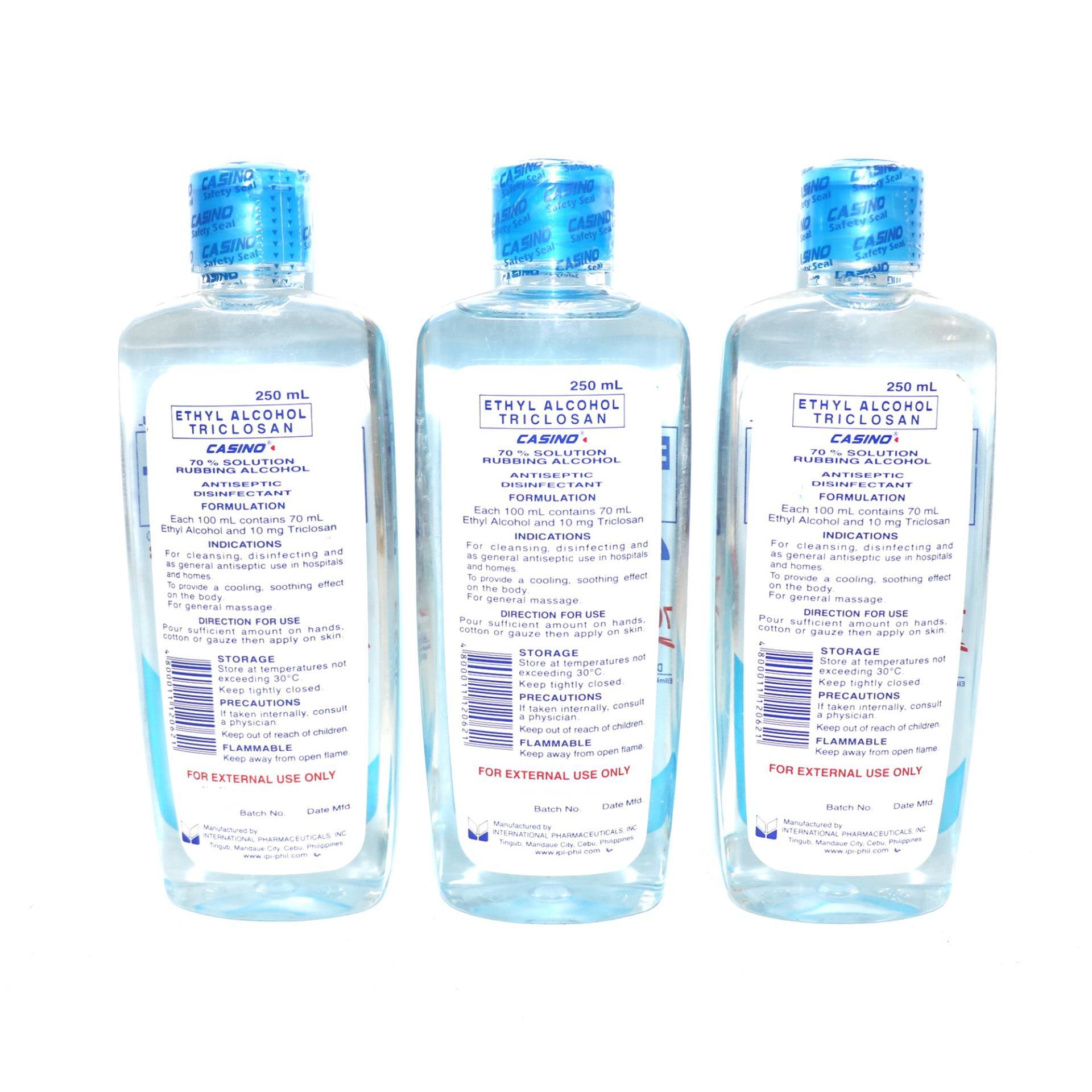 Blue ethyl alcohol triclosan casino active 70% solution 250ml 3pcs W94  120621