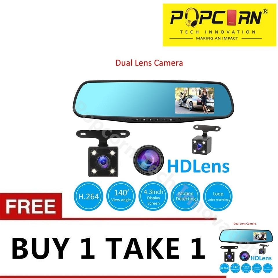 Popcorn Full 1080HD 4.3 Inch Dash Cam Video Recorder Dual Lens Front and Rear Mirror Car Camera DVR(Black)Buy 1 Take 1