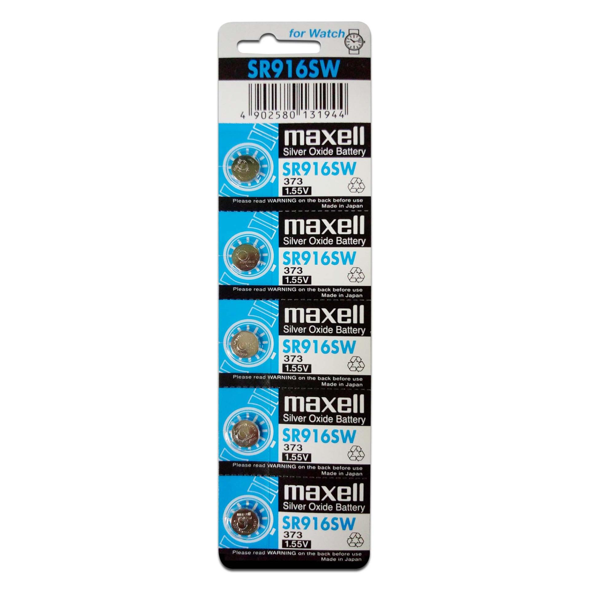 Maxell Silver Oxide Battery SR916SW (Pack 0f 5)
