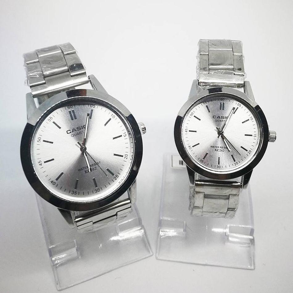 Casio Analog Silver Dial Stainless Steel Couple's Watch