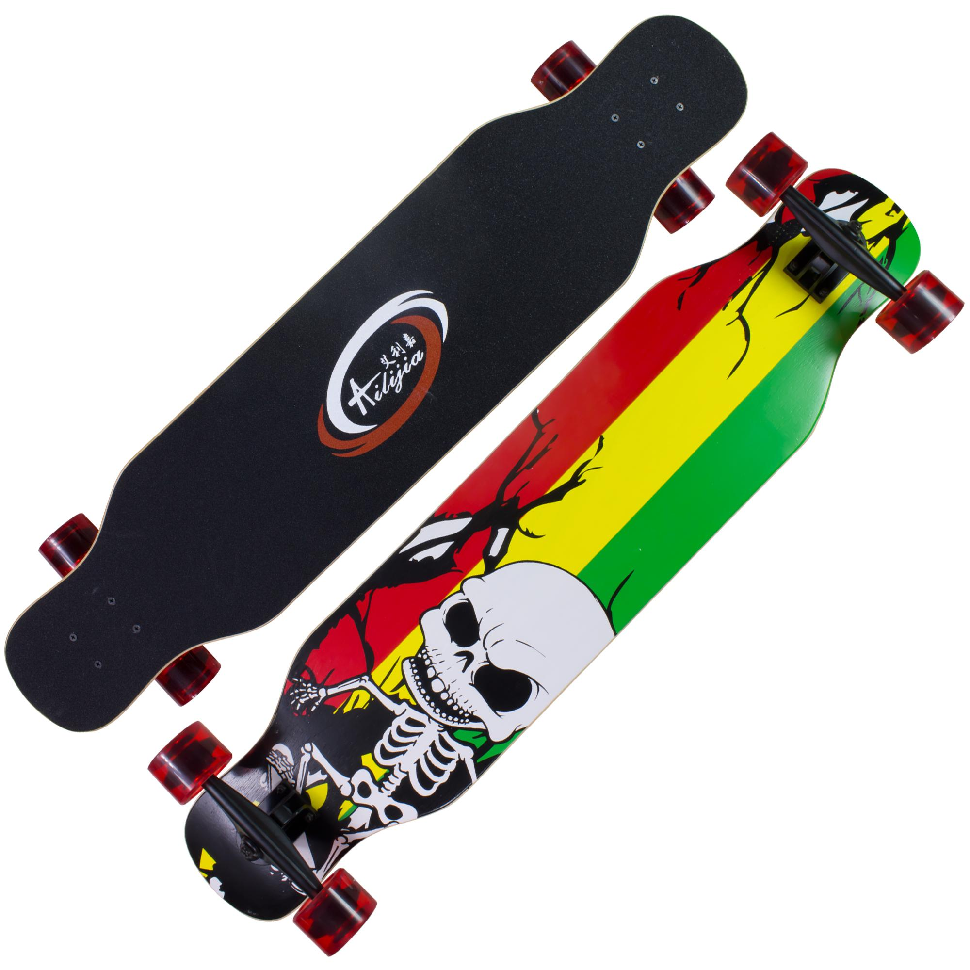 AILIJIA 42 x 9 inches Downhill Dancing Freestyle Long board Skateboard Reggae Skeleton (Trans Red) image