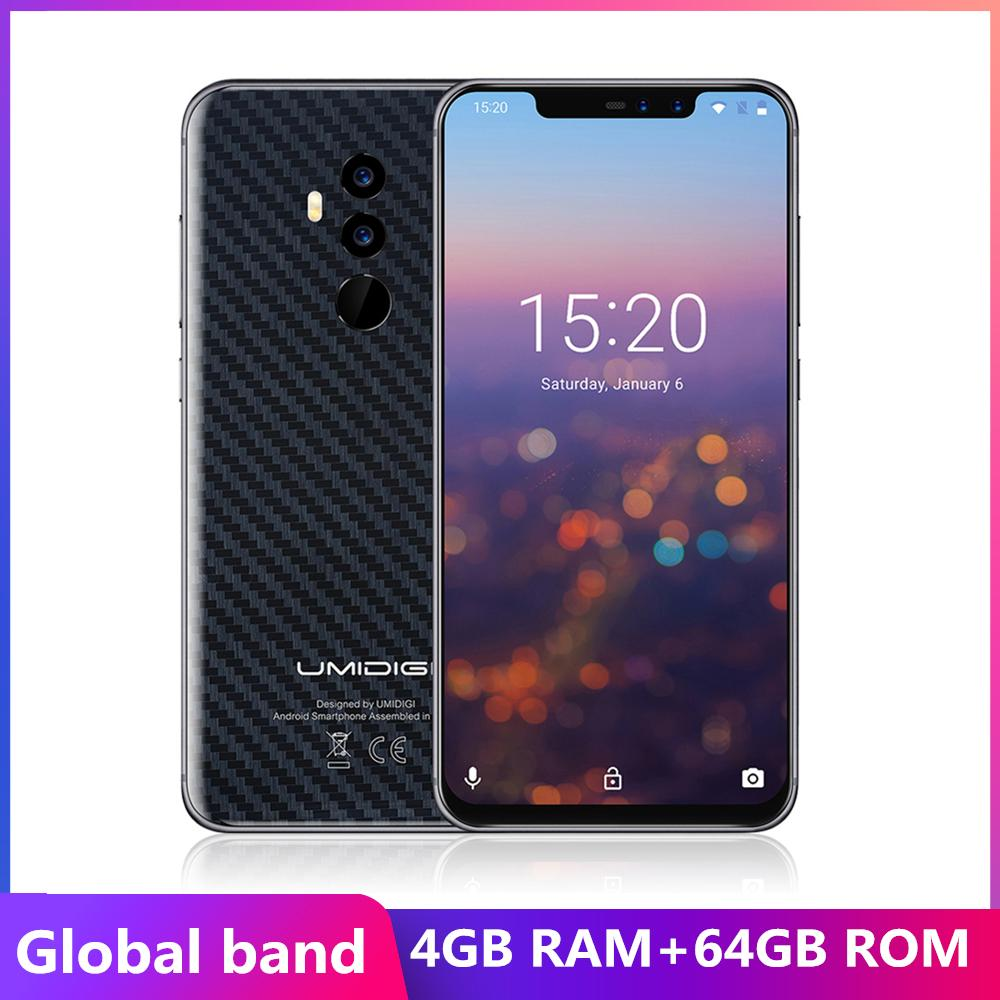 "Umidigi Z2 FHD+Full Screen 6GB RAM 64 ROM Mobile phone Global band Helio P23 Octa Core 6.2"" Android 8.1 16MP+8MP Camera 4G LTE Cell phone"