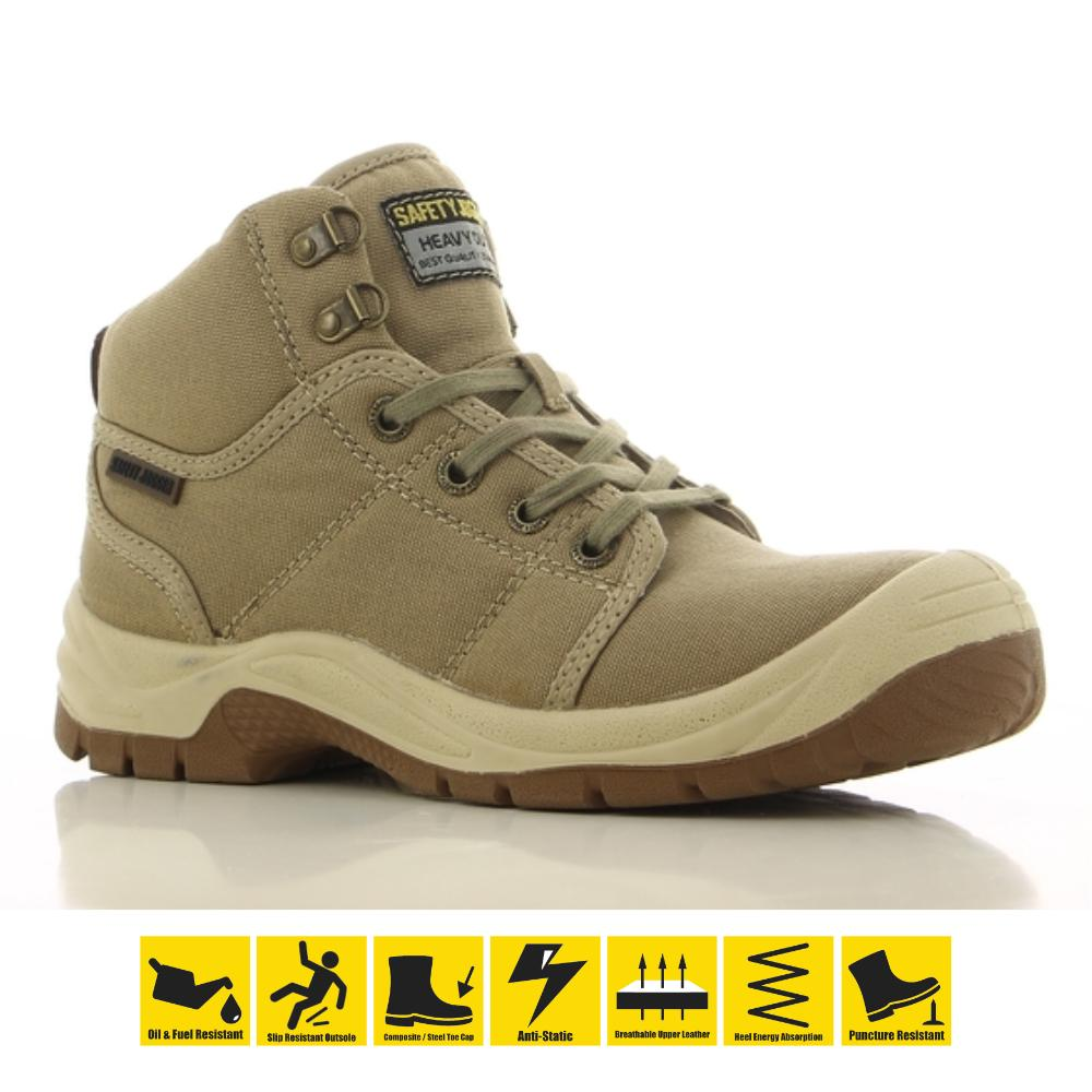 cfa0712d46c Safety Jogger Desert S1P High Cut Safety Shoes Work Boot Footwear Steel Toe  Oil Resist Anti-slip ( Beige ) Toe Cap Shoes Safety Boot PPE