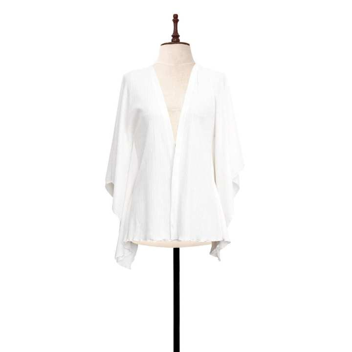 BLACK SHEEP Textured Knit Cardigan w/ Batwing Sleeves in White