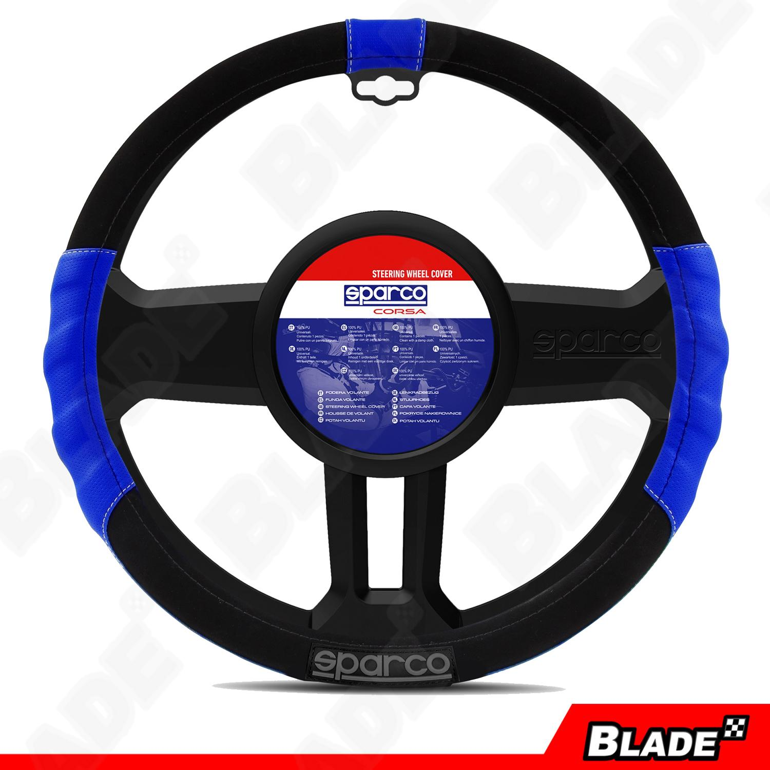 Sparco SPC1108AZ Steering Wheel Cover (Black/Blue)