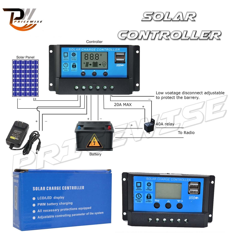 ALLPOWERS 10A Solar Charger Controller Solar Panel Battery Intelligent  Regulator with USB Port Display 12V/24V