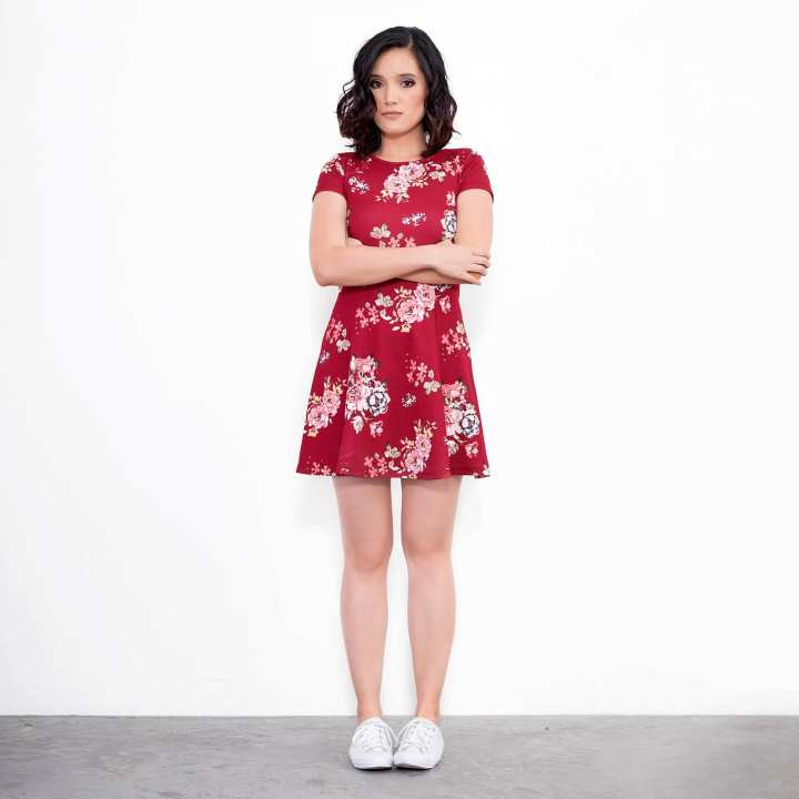 BLACK SHEEP Floral Skater Dress in Red Crepe