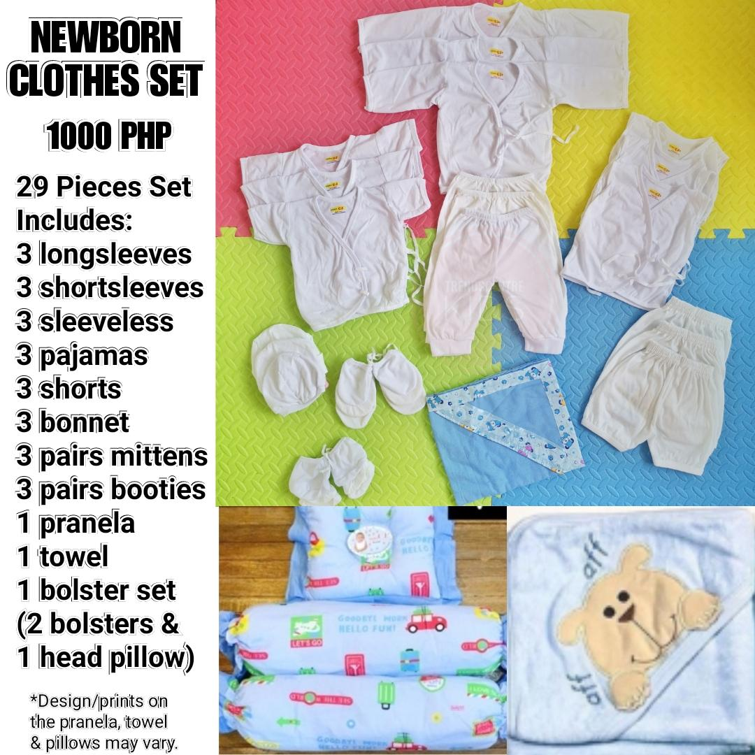 f9fe95ac873c 29 PCS NEWBORN STARTER ESSENTIALS PACK INFANTS WEAR PLAIN WHITE BASIC BABY  CLOTHES COMPLETE SET WITH BOLSTERS PILLOW SET | Lazada PH