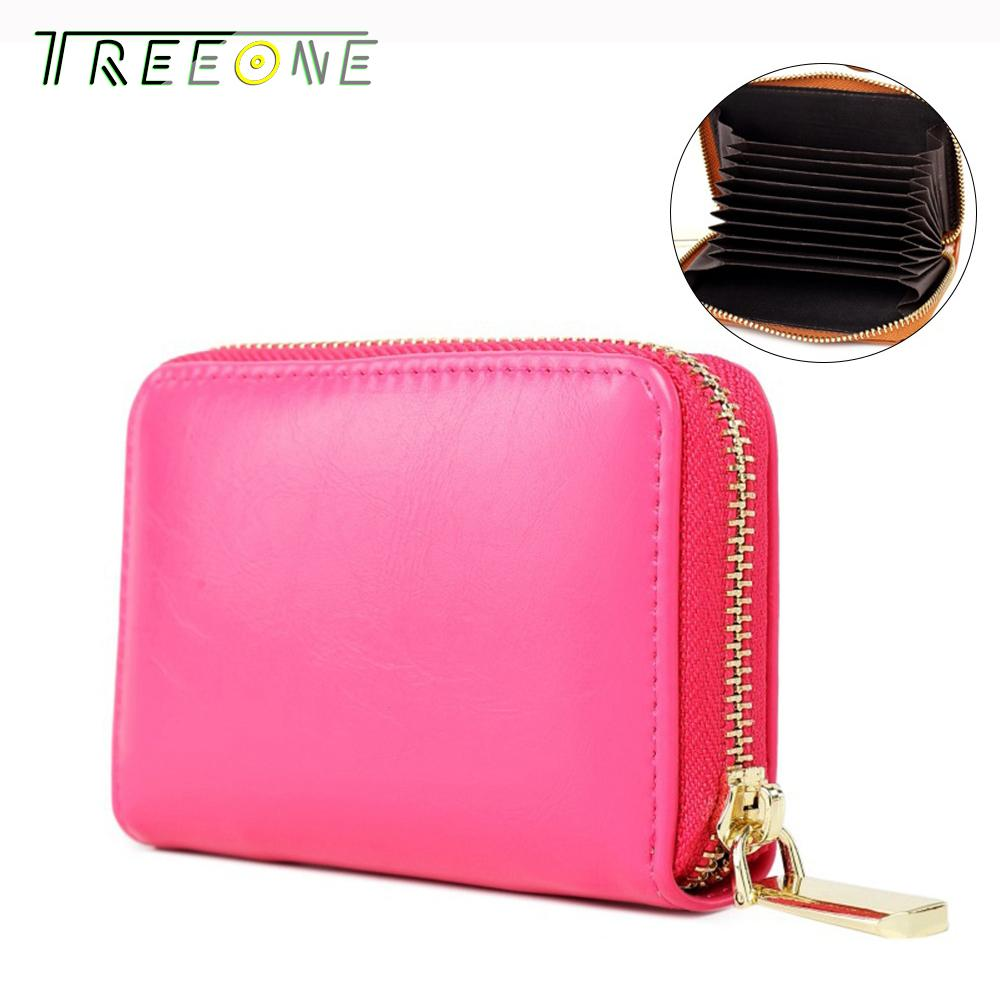 Treeone PU Leather Credit Card Holders Female Card Holder Wallet Women Business Cardholder Organizer