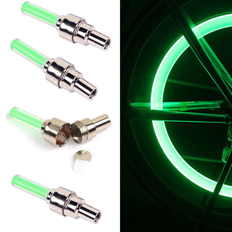 4PCS Bike Car Wheel LED Flash Light Motorcycle Tire Tyre Valve Cap Neon Cool Lam