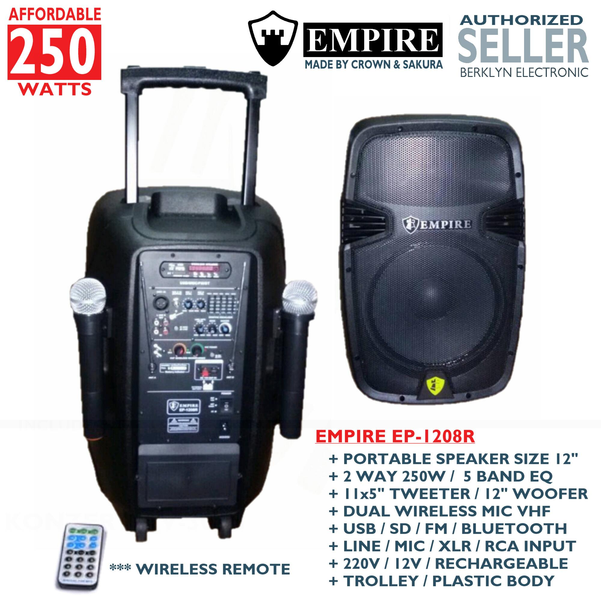 Empire EP-1208R 250 Watts Affordable Portable Active Powered Speaker +  Rechargeable + Dual Wireless Mic + Radio USB SD Bluetooth Aux + Trolley