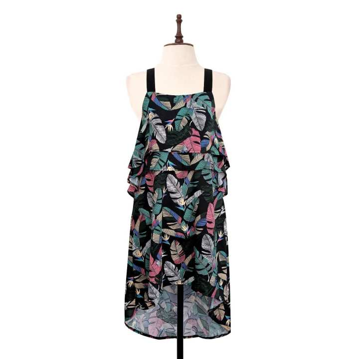 BLACK SHEEP Palm Print layer Flounce Dress w/ Wide Straps in Black