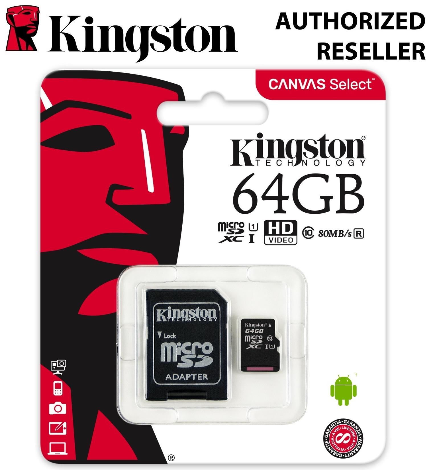 Kingston microSDXC 64GB Class 10 UHS-I 80MB/s Flash Memory Card (Canvas Select)