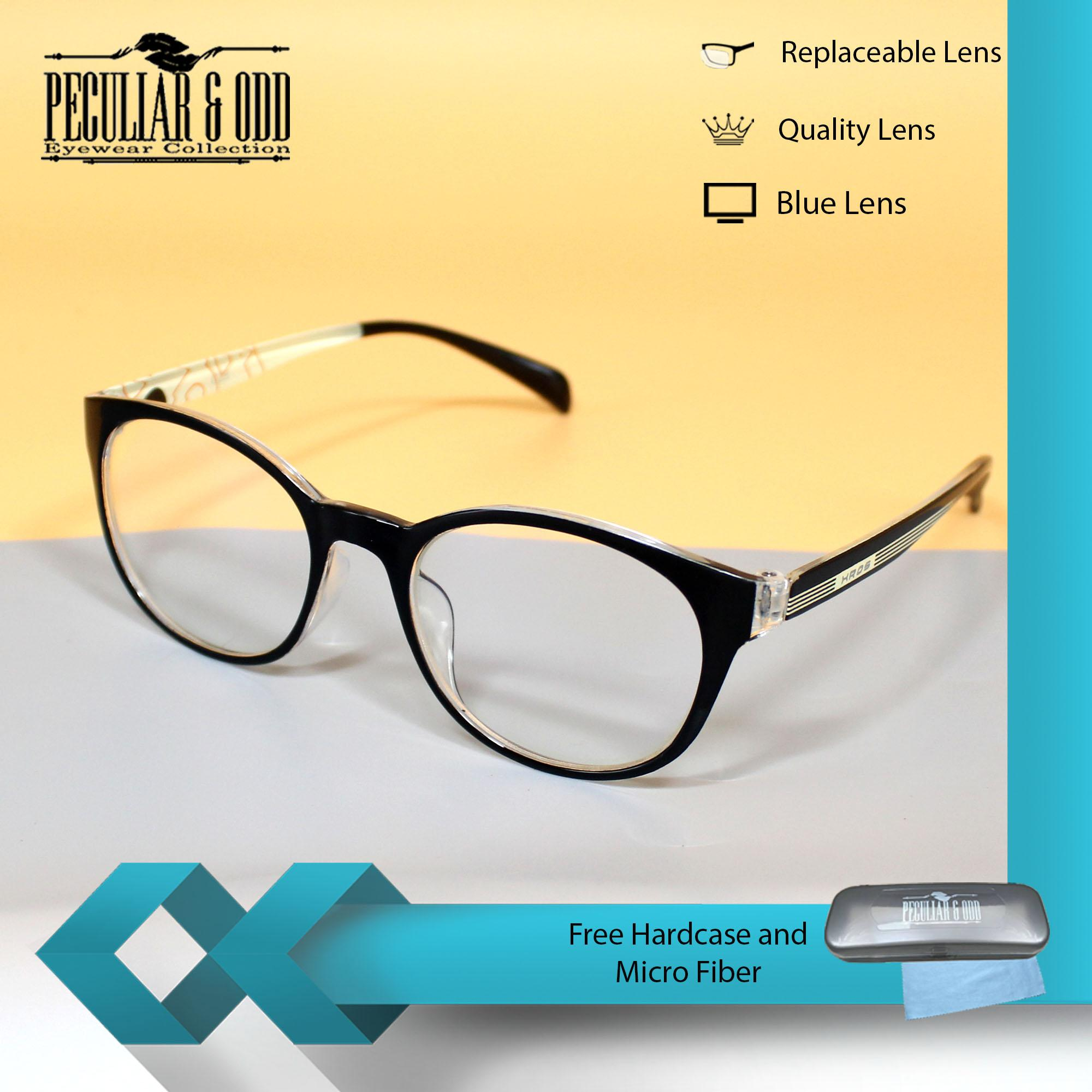 Optical Round Lightweigth Spectacles S493_BlackTrans Multi-coated Computer Anti-Radiation Replaceable Blue Lens Eyewear_Unisex
