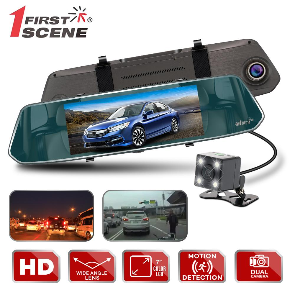 First Scene V90 Camera Video Recorder 7-inch HD Touch Screen Support Dual Lens for Front & Rear view Mirror DVR Car Dash Camera (Dark Grey)