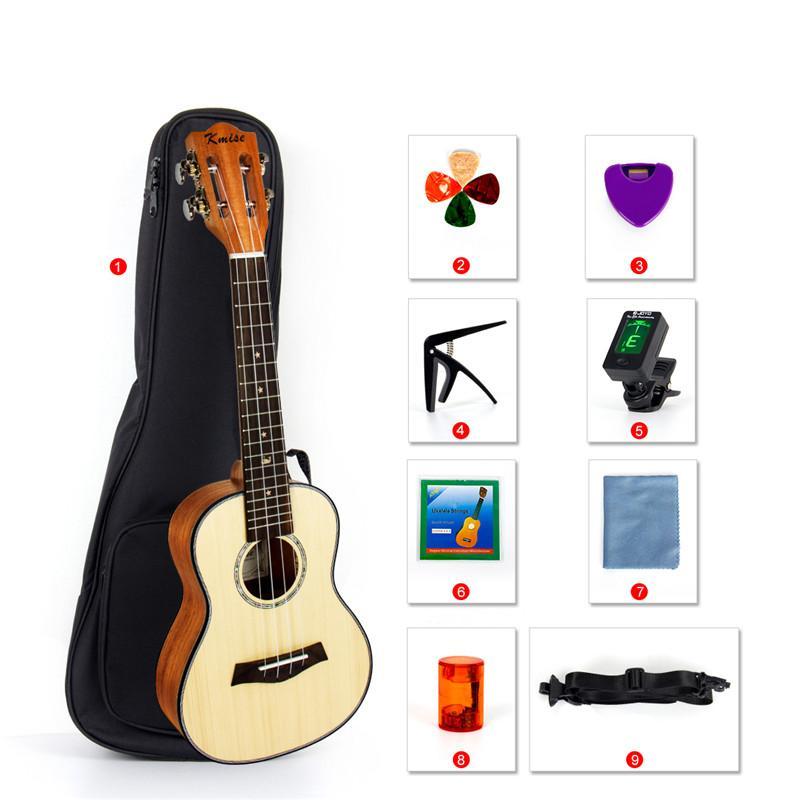 Kmise 23 Inch Concert Classical Ukulele Solid Spruce Uke Hawaii Guitar for Gift