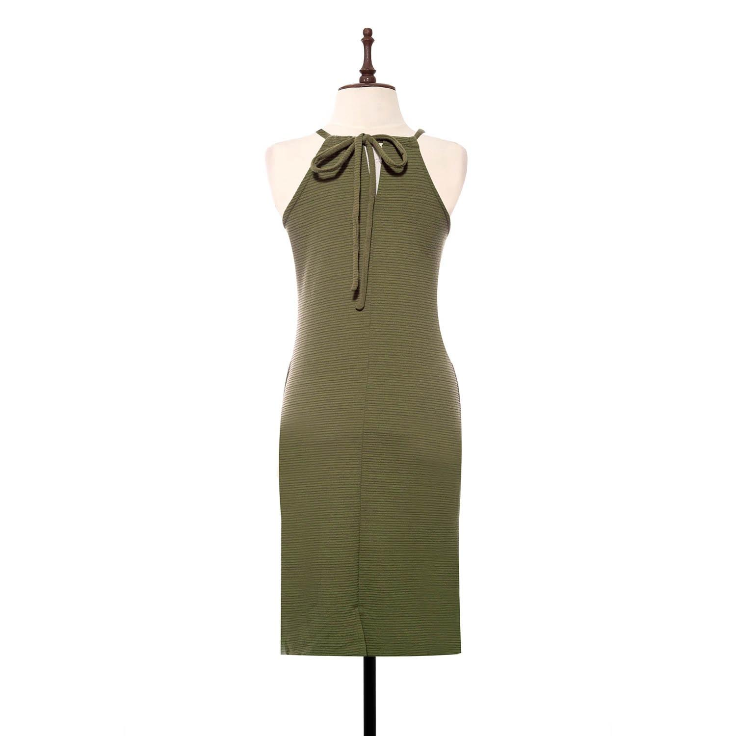 BLACK SHEEP Fitted Halter Dress in Textured Knit in Green