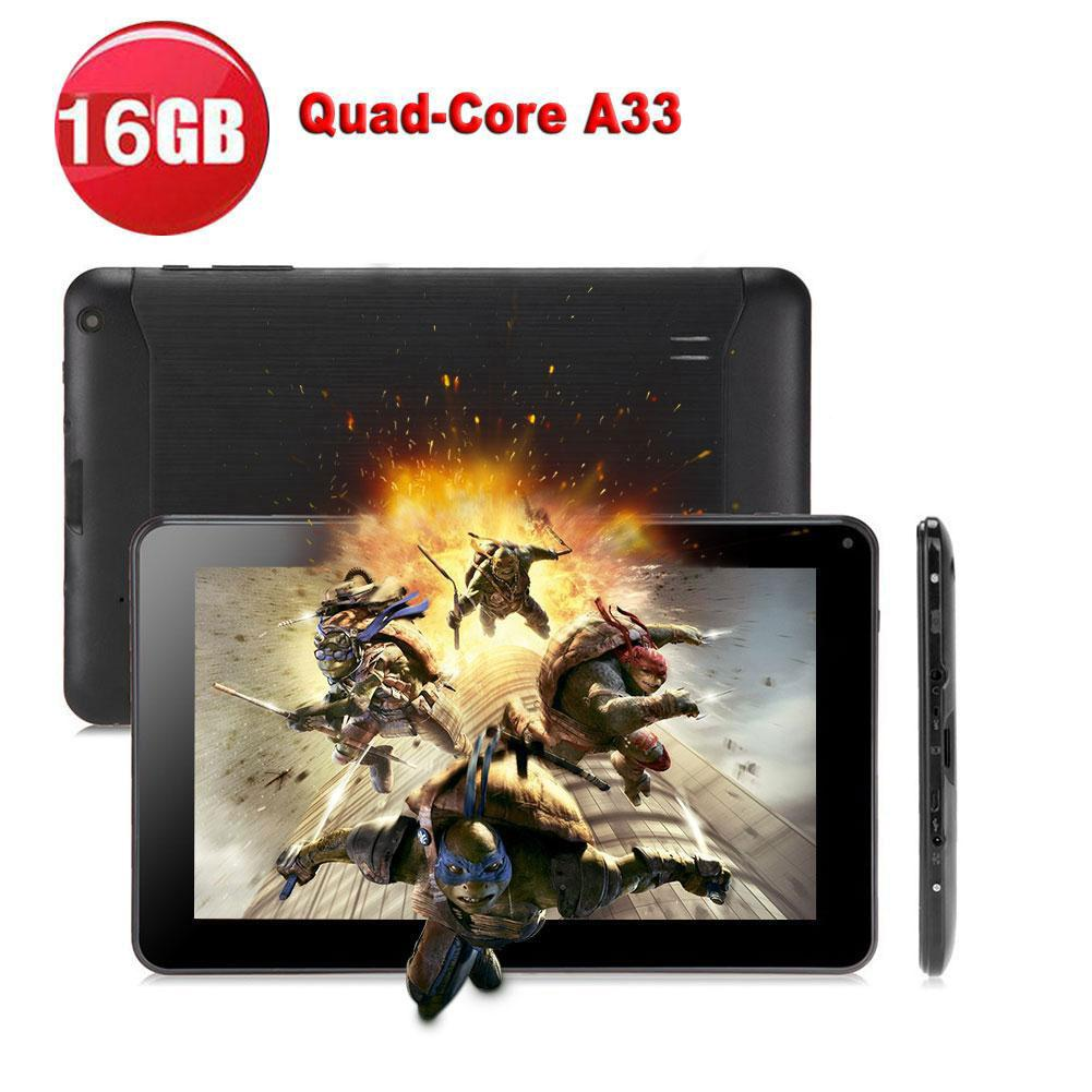 N98 9 Inch Android 4.4 Tablet PC Allwinner A33 Quad Core 1GB+16GB UK Plug Black