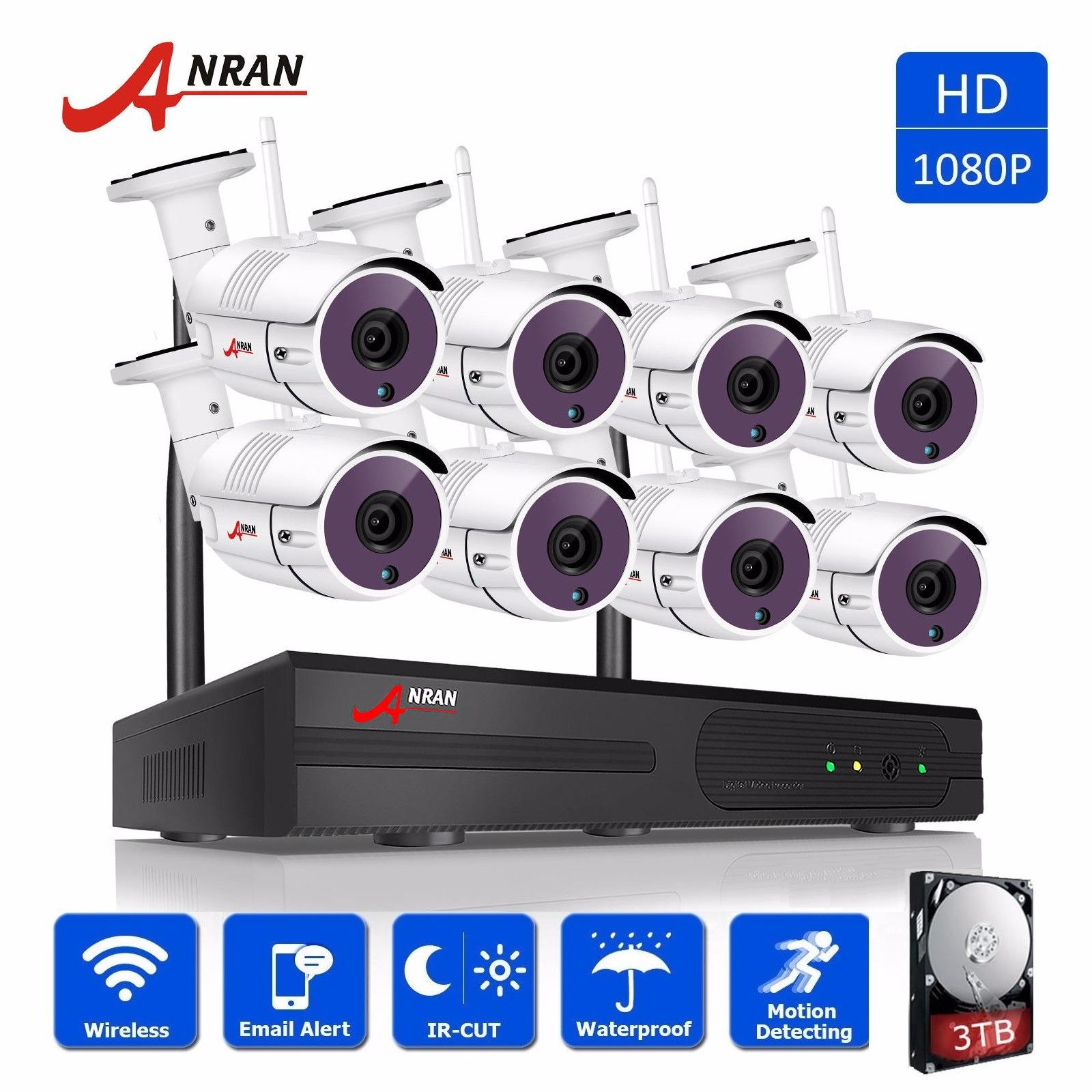 ANRAN 8CH 1080P NVR Wireless Security Camera System With 8Pcs 2.0MP HD Indoor Outdoor Home Security Cameras