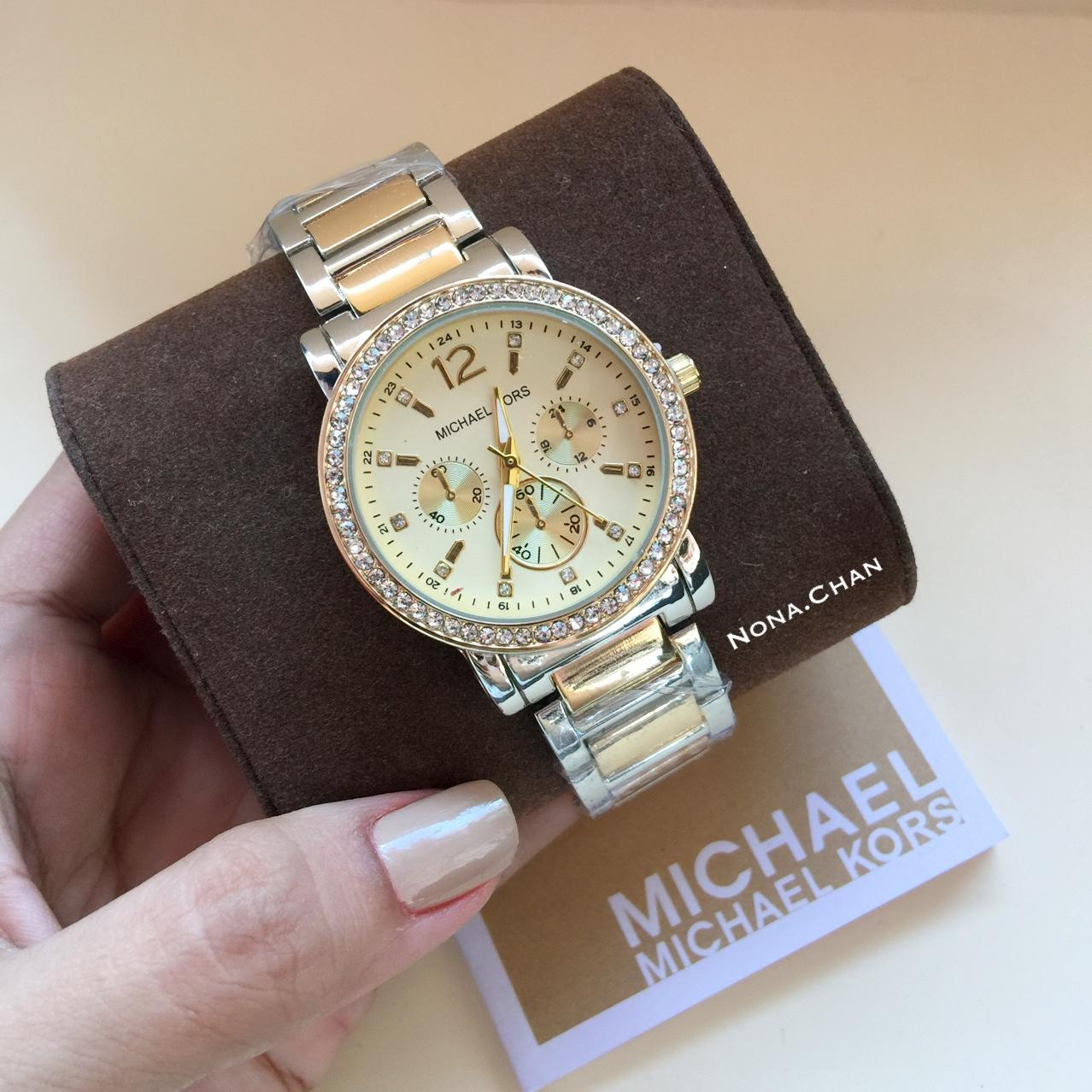 New MK Watch W/ Stones Stainless