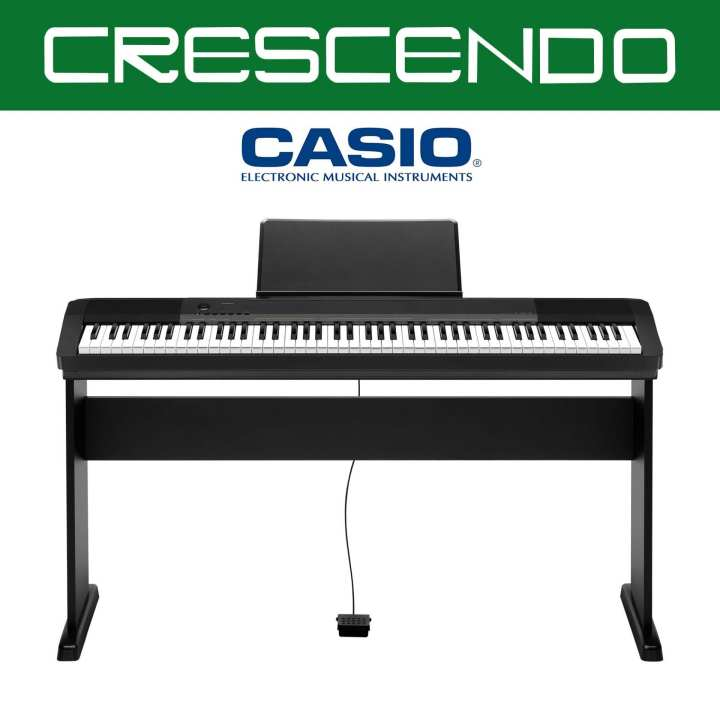 Casio CDP-130 88 Weighted Keys Digital Piano (Black) includes Original Casio CS-44 Stand, Sustain Pedal and Adapter