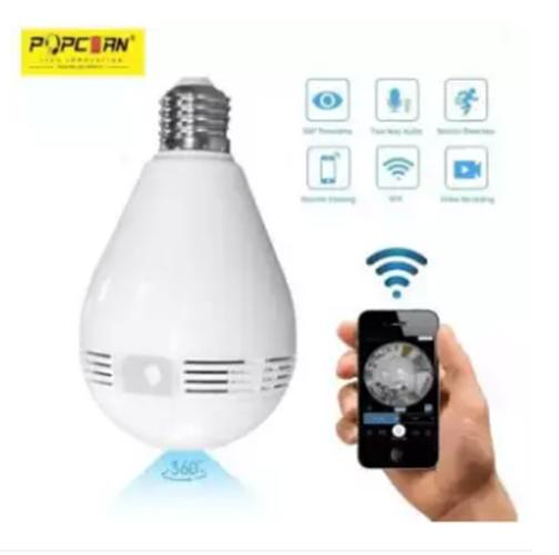 Popcorn V380 V2 IP CAM Wireless WIFI Network Security Two-Way Audio 1080P Home Monitor CCTV 360Panoramic Light Bulb Camera(White)