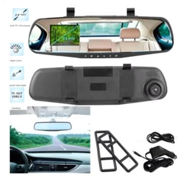 "New 2.8"" 1080P Car DVR Rearview Mirror Camera (Black)"