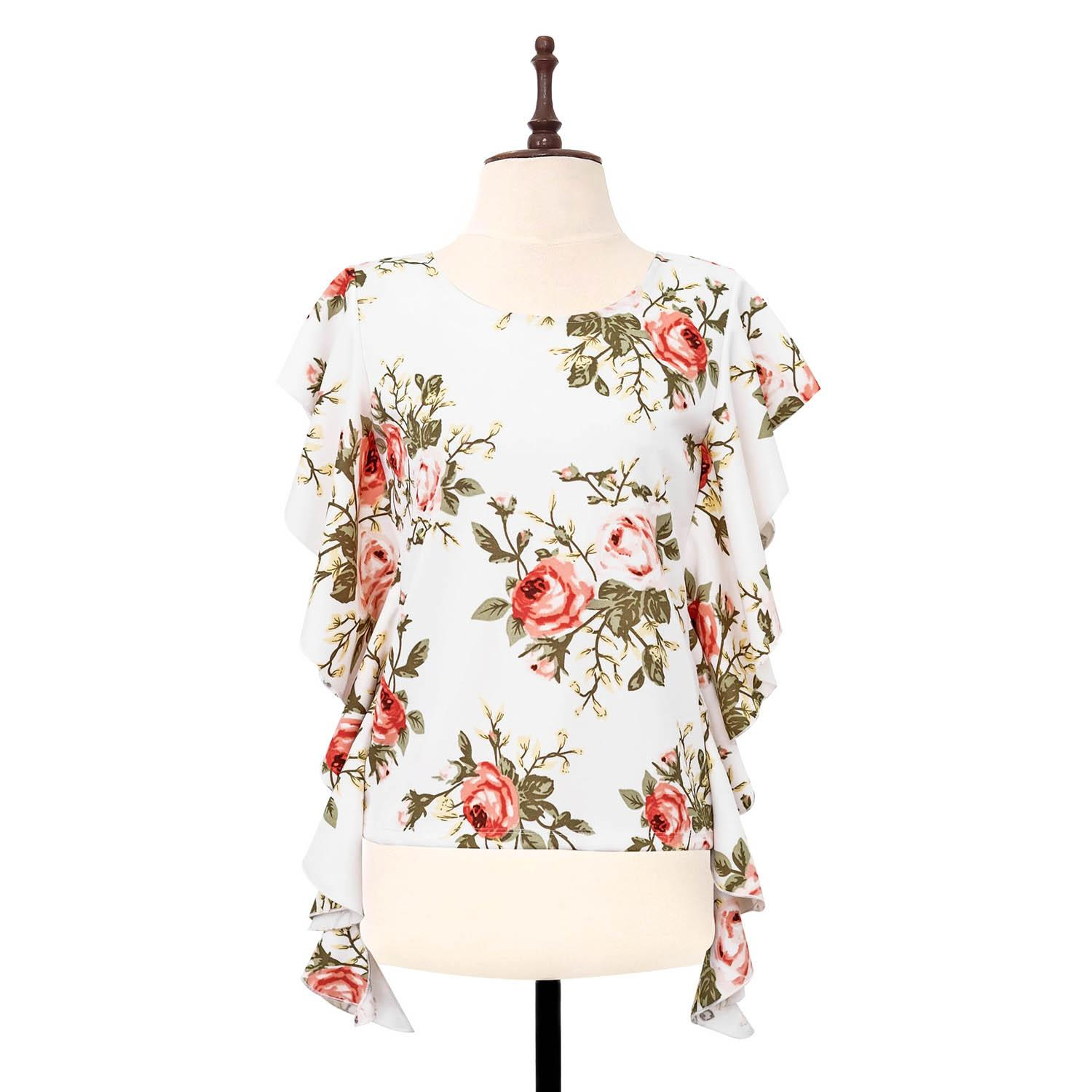 BLACK SHEEP Floral Top with Cascading Sleeves