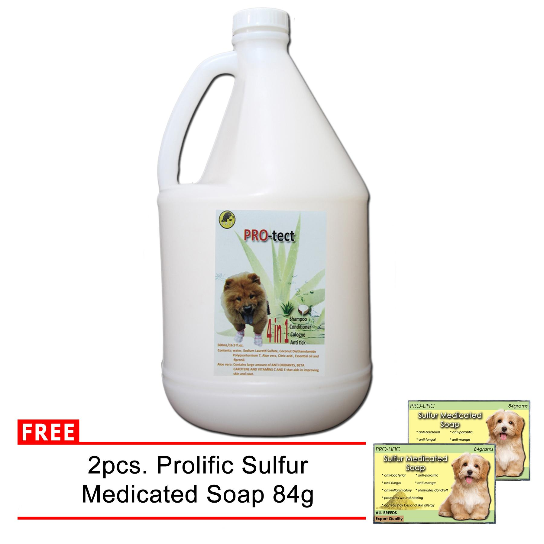 4 in 1 dog and cat Shampoo, Conditioner, Cologne, and Anti-tick 1 gallon  (white) With Free 2 pcs  Prolific Sulfur Medicated Soap 84 g