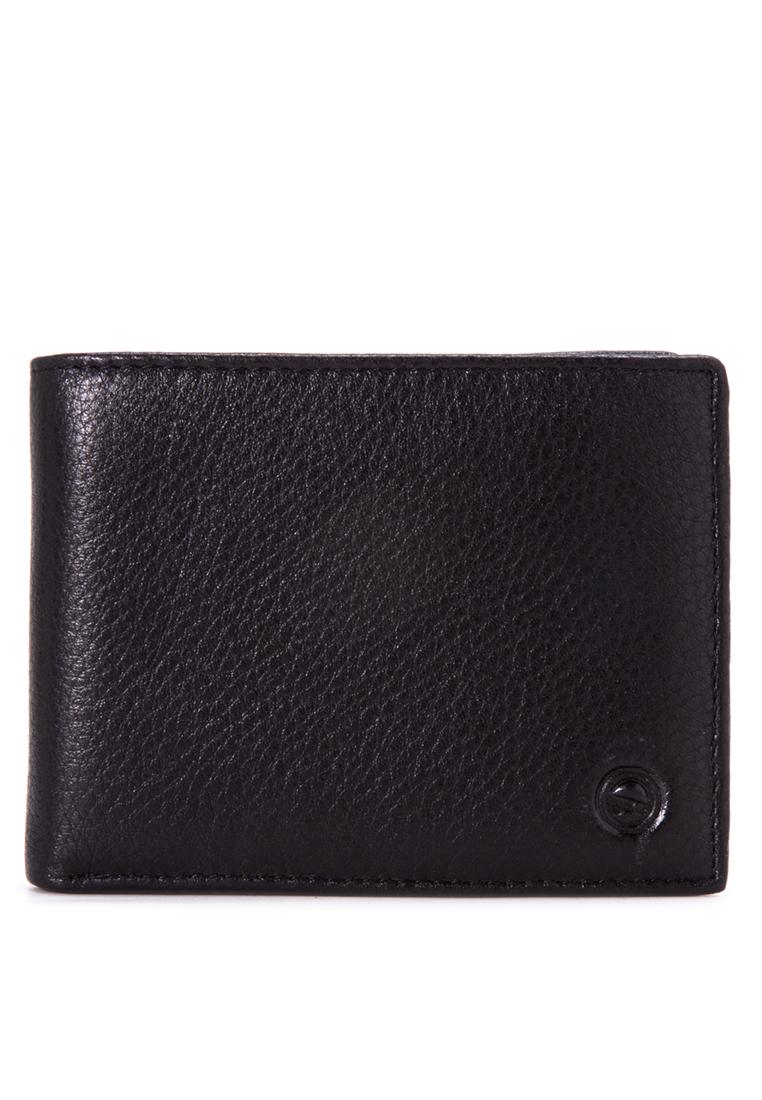 McJIM W-63-2053P Smooth Cow Leather Billfold Wallet (Black)