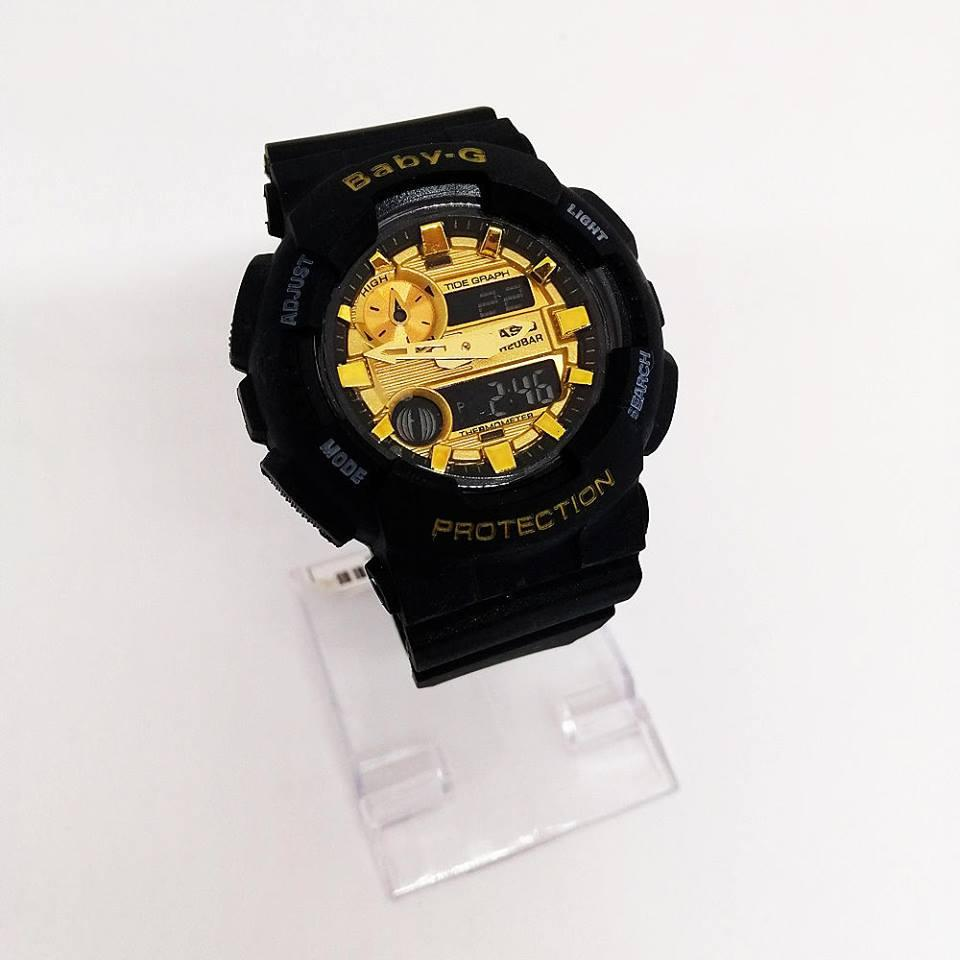 Casio Baby-g BA-111Gold Dial Strap Resin Band for Women Watch (Black)
