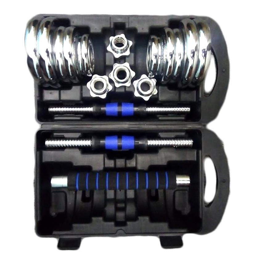 York Fitness Chrome Dumbell Set 20kg w/Longbar (Blue) image on snachetto.com