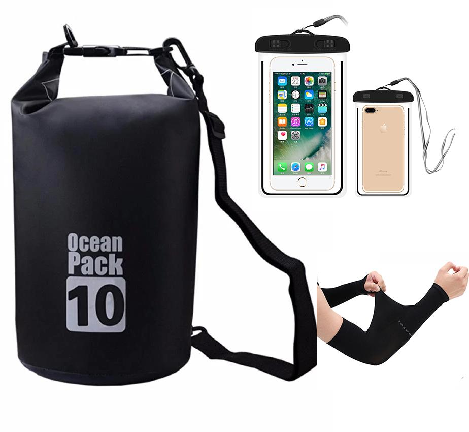 Portable & Outdoor 10L Waterproof Dry Bag Set with Free Water Proof Phone Case and Sun UV Protection Arm image on snachetto.com
