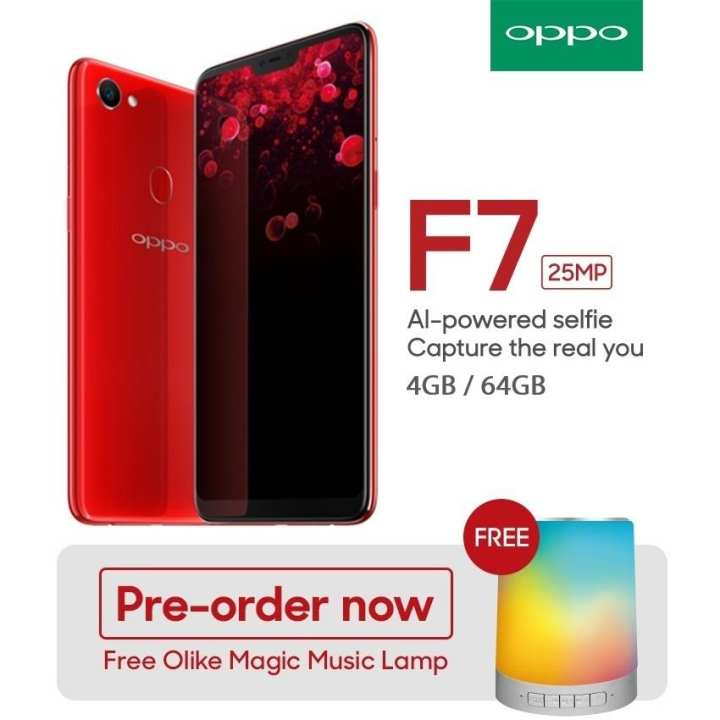 "OPPO F7 6.23"" 19:9 Aspect Ratio Full Screen 25MP Camera with Free Oppo Olike Music Lamp"