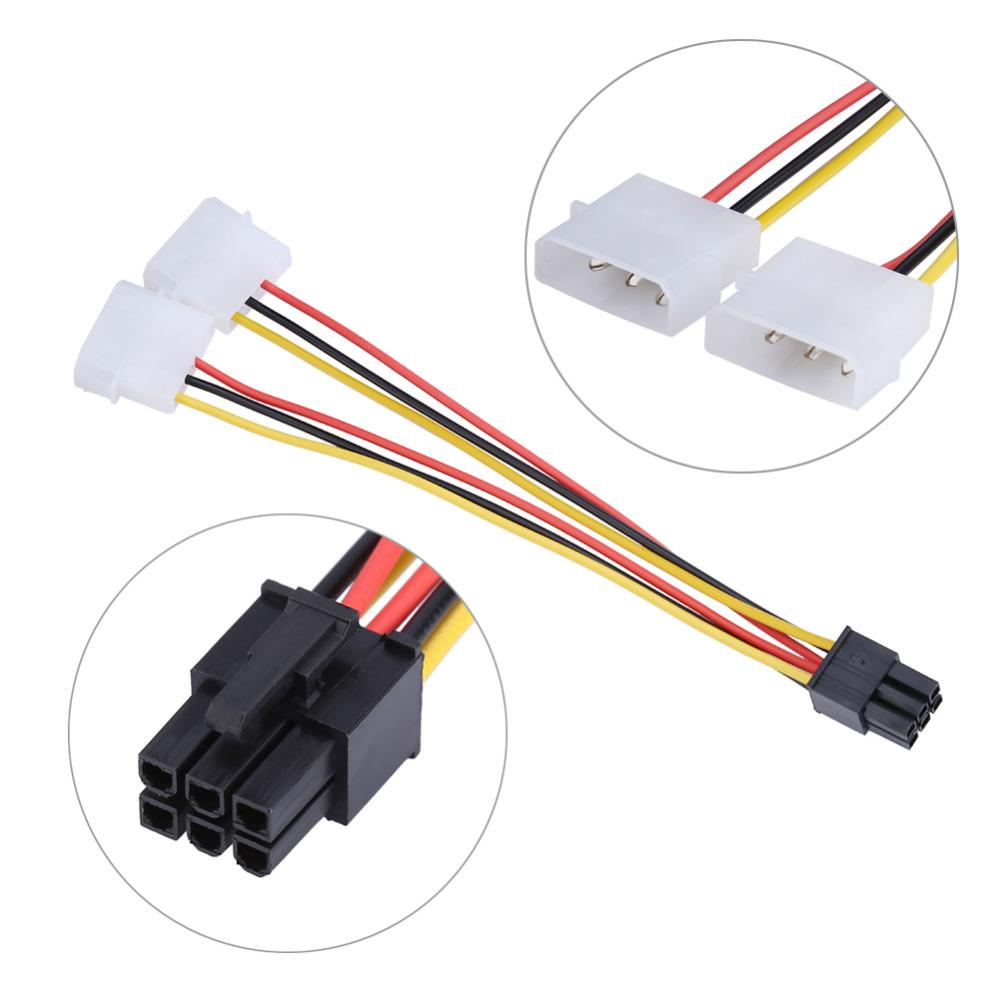 4 Pin Molex to 6 Pin PCI-Express PCIE Video Card Power Converter