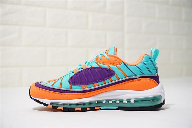 Nike Original Air Max 98 Low Top Women Global Sales Running Shoe ( Orange Purple Green ) By Cns166.