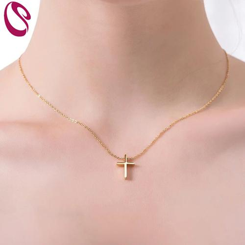 435bfd8530687 LS Jewelry Cross necklace women clavicular chain gold stainless steel N0064