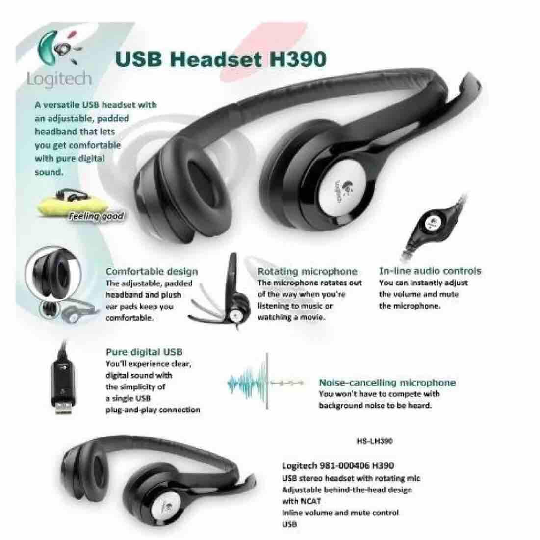 Logitech H390 Comfort USB Headset with Noise Cancelling Mic (Black)