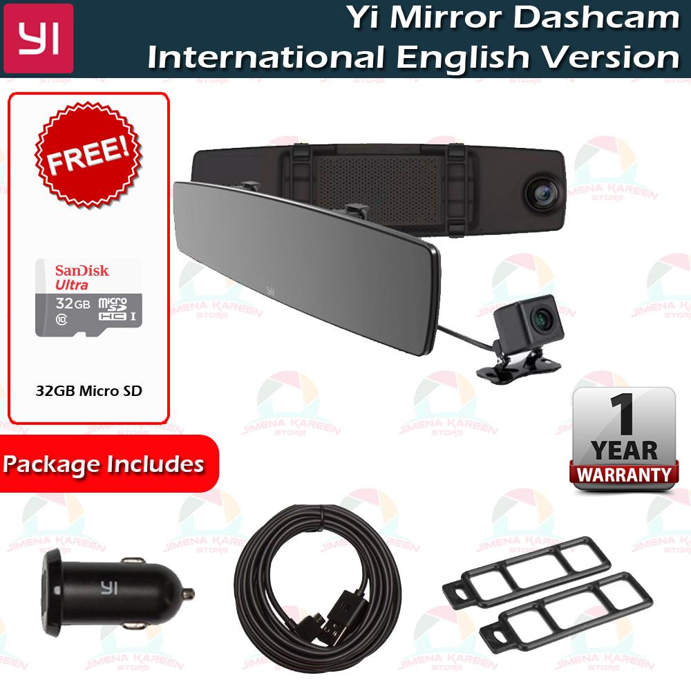YI Mirror Dash Cam Dashcam Dual Dashboard Camera Recorder International VersionTouch Screen Front Rear View HD Camera G Sensor Night Vision Parking Monitor Free 32GB SD Card