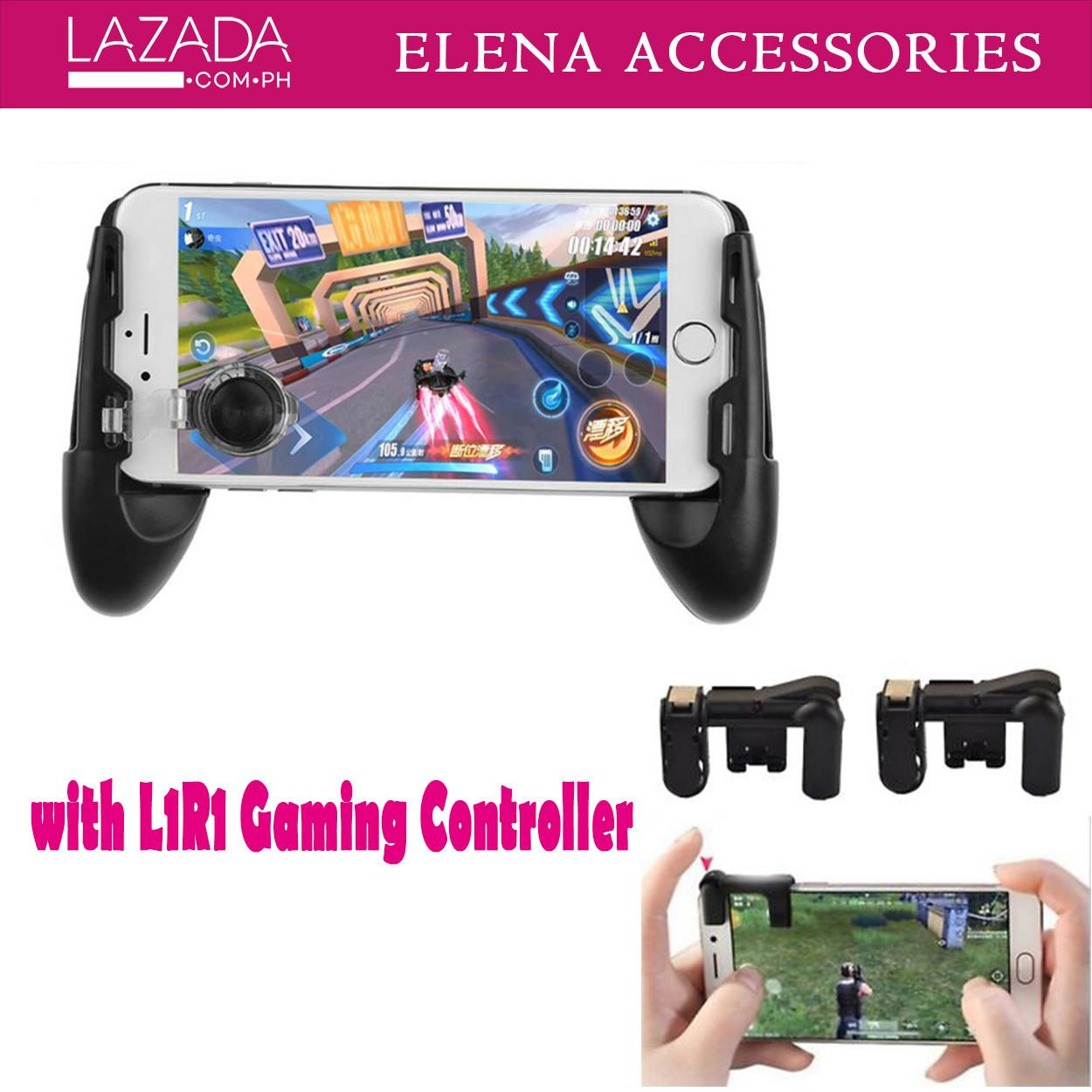 Gamepad for Smartphones Black  Adjustable Mobile Movement  3 in 1 Built-in Bracket Gaming JL-01 Controller Joystick Gamepad with L1R1 Gaming Fire Shooter Controller