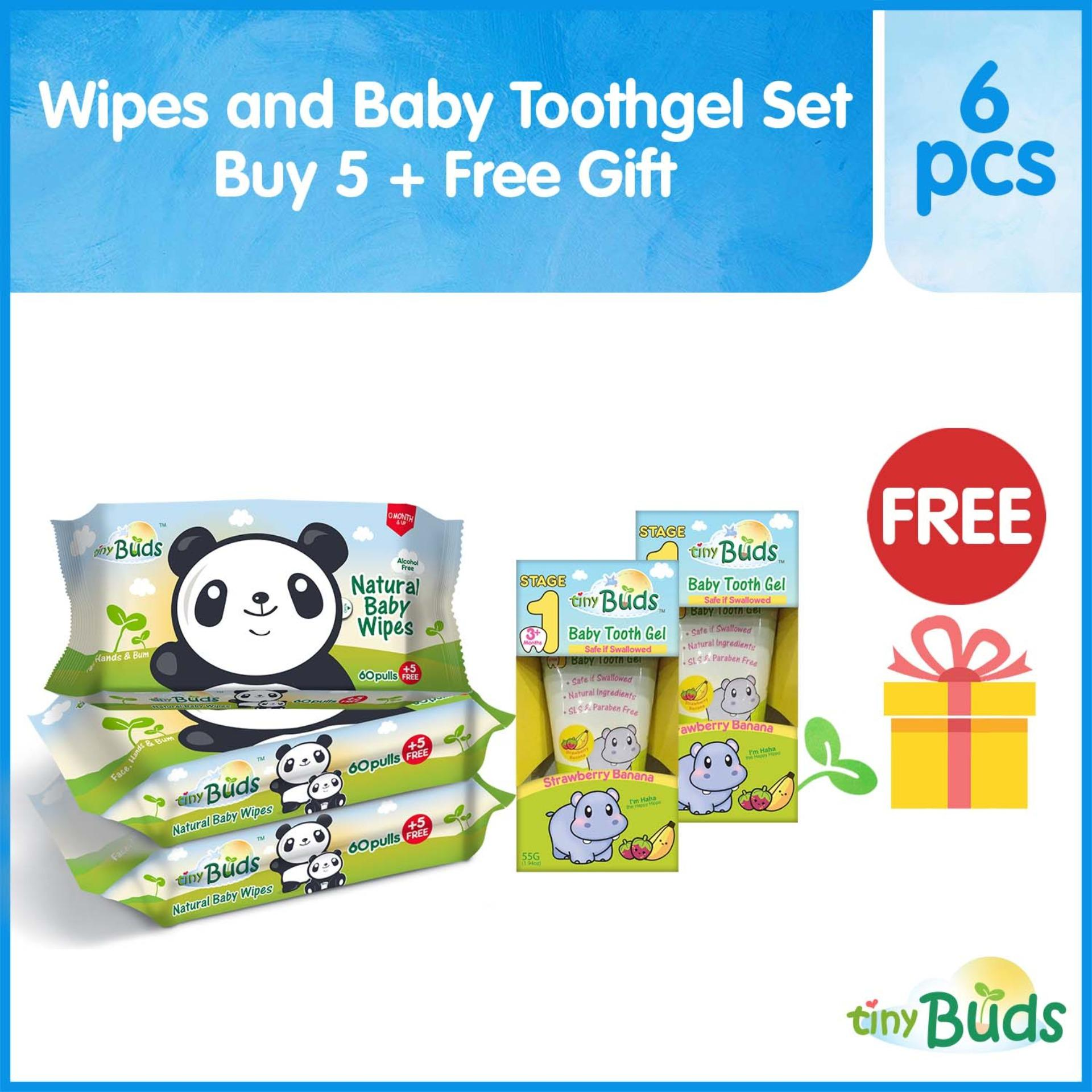 Tiny Buds Kiddie Toothgel and Hand Wipes Set with FREE TEETHING SNACK