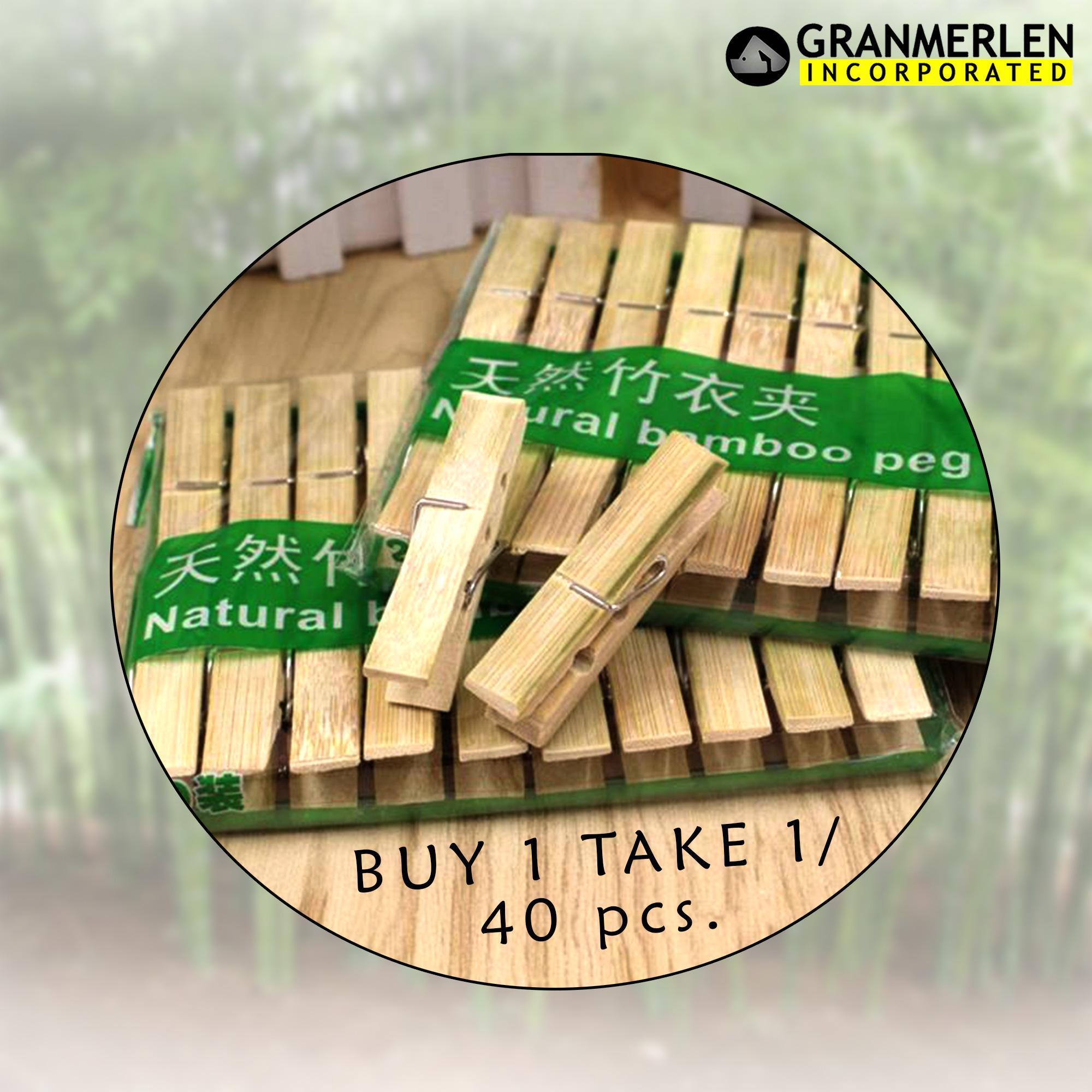 Clothespin Natural Bamboo Peg Airing Clip For Drying Clothes 40 Pcs 2 Pack