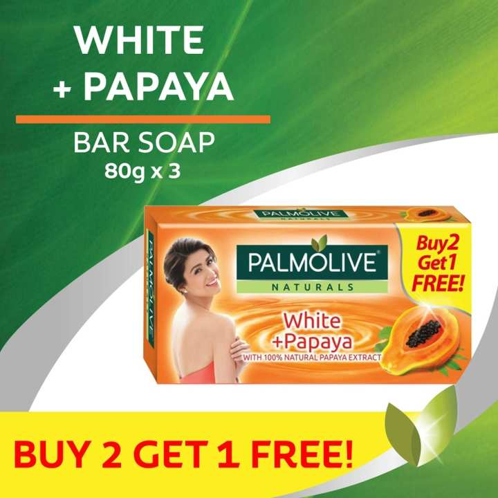 Palmolive Naturals White + Papaya Bar 80g Value Pack. Buy 2, Get 1 Free