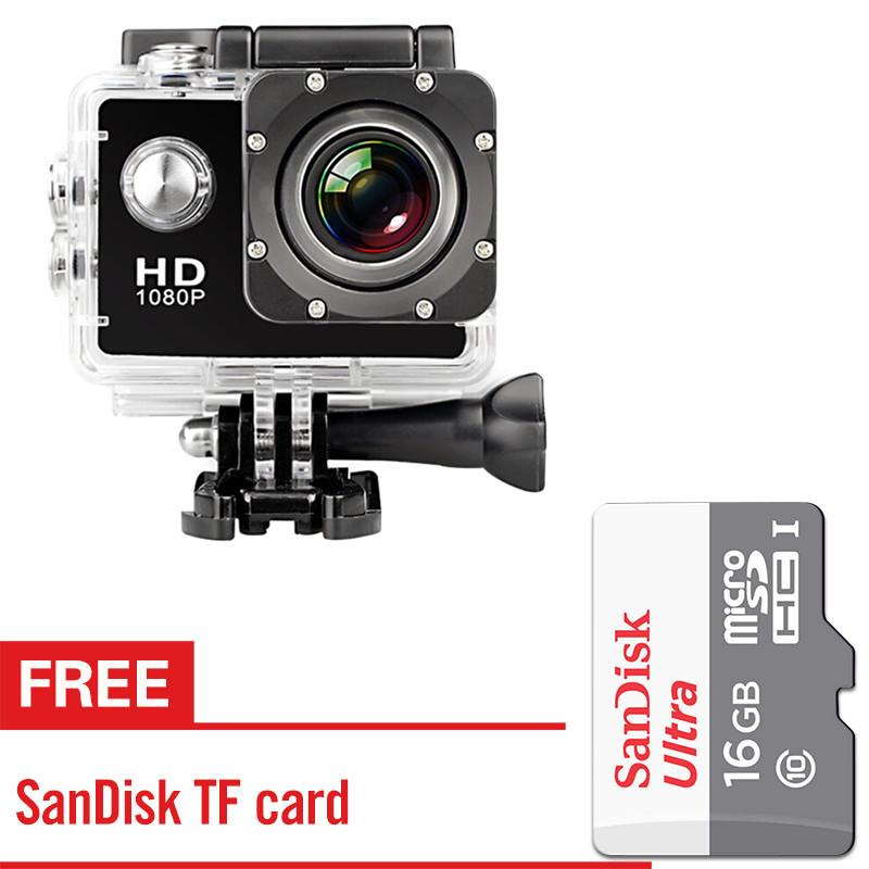 Ultra HD 1080P Waterproof Sports Action Camera  with Brand Class 10 16G Micro SD Card