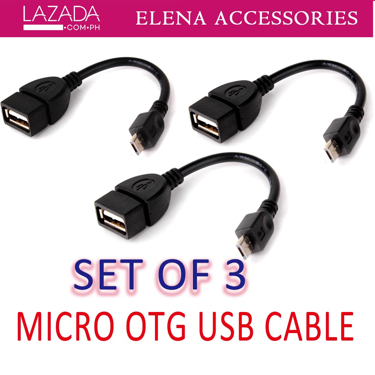 Set of 3 New Micro USB Data Cable Support with Mobile Phone and Tablets  Black OTG Cable/Adapter