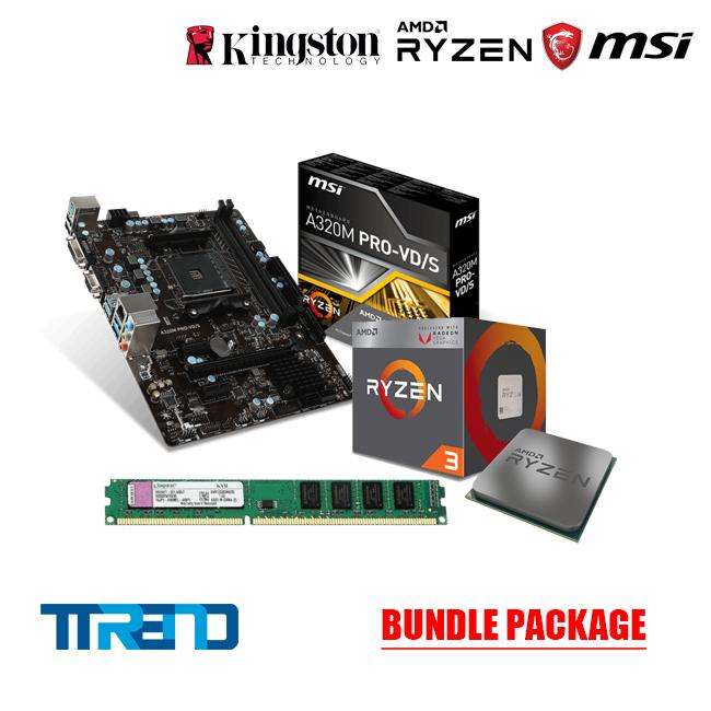 MSI A320M PRO-VD/S , AMD RYZEN 3 2200G, 4gb DDR4 kingston 2400U Bundle