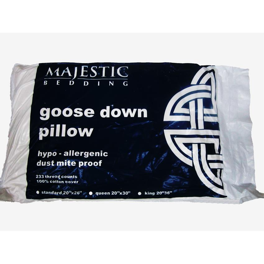 Majestic Bedding Goose Down Pillow Standard 20 x 26 inches (White)