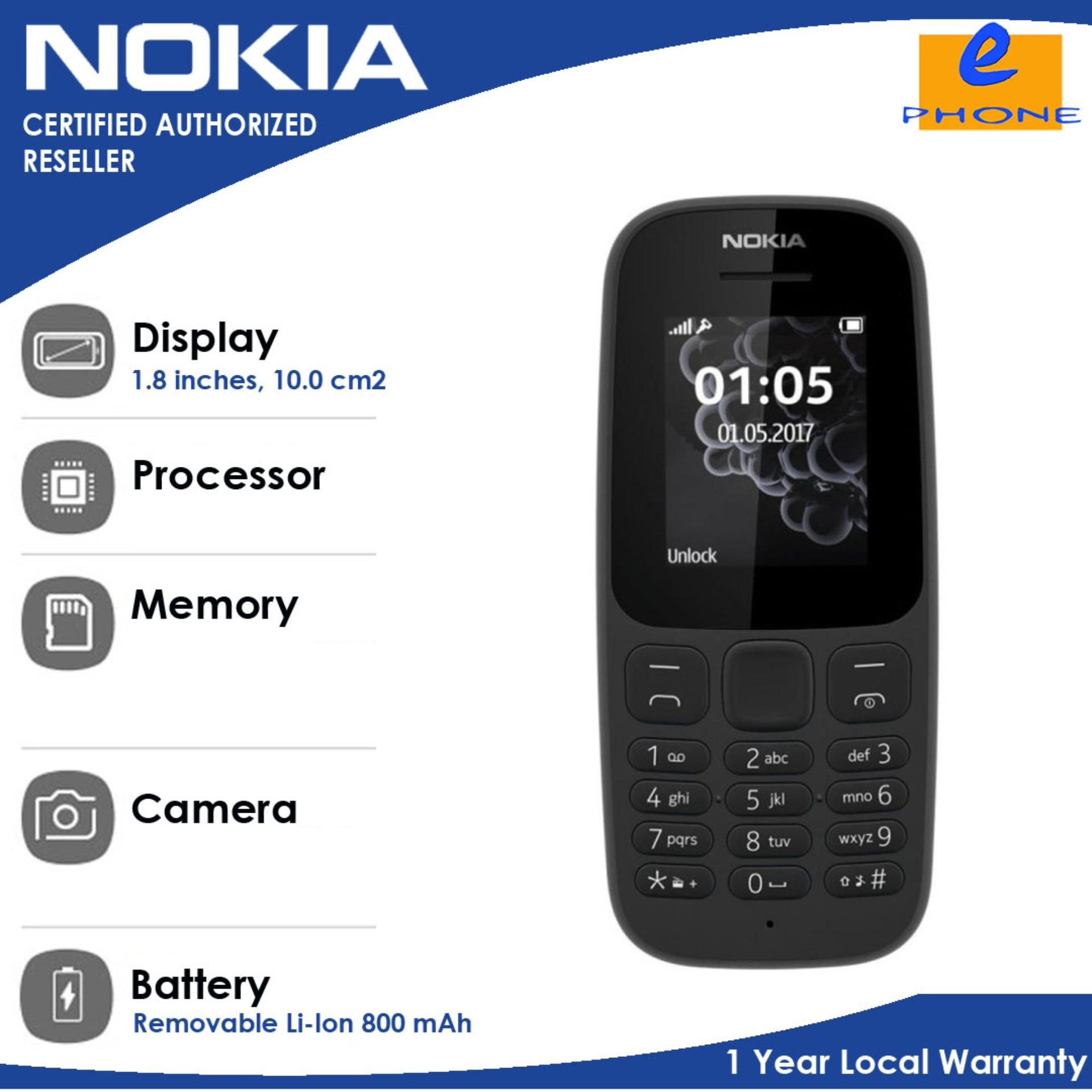 Nokia 105 2017 1.8 inches 4MBRAM 800 mah with 1 Year Local Warranty Authentic/Original Dual Sim TFT 120x160 Micro USB 2.0 (Black)