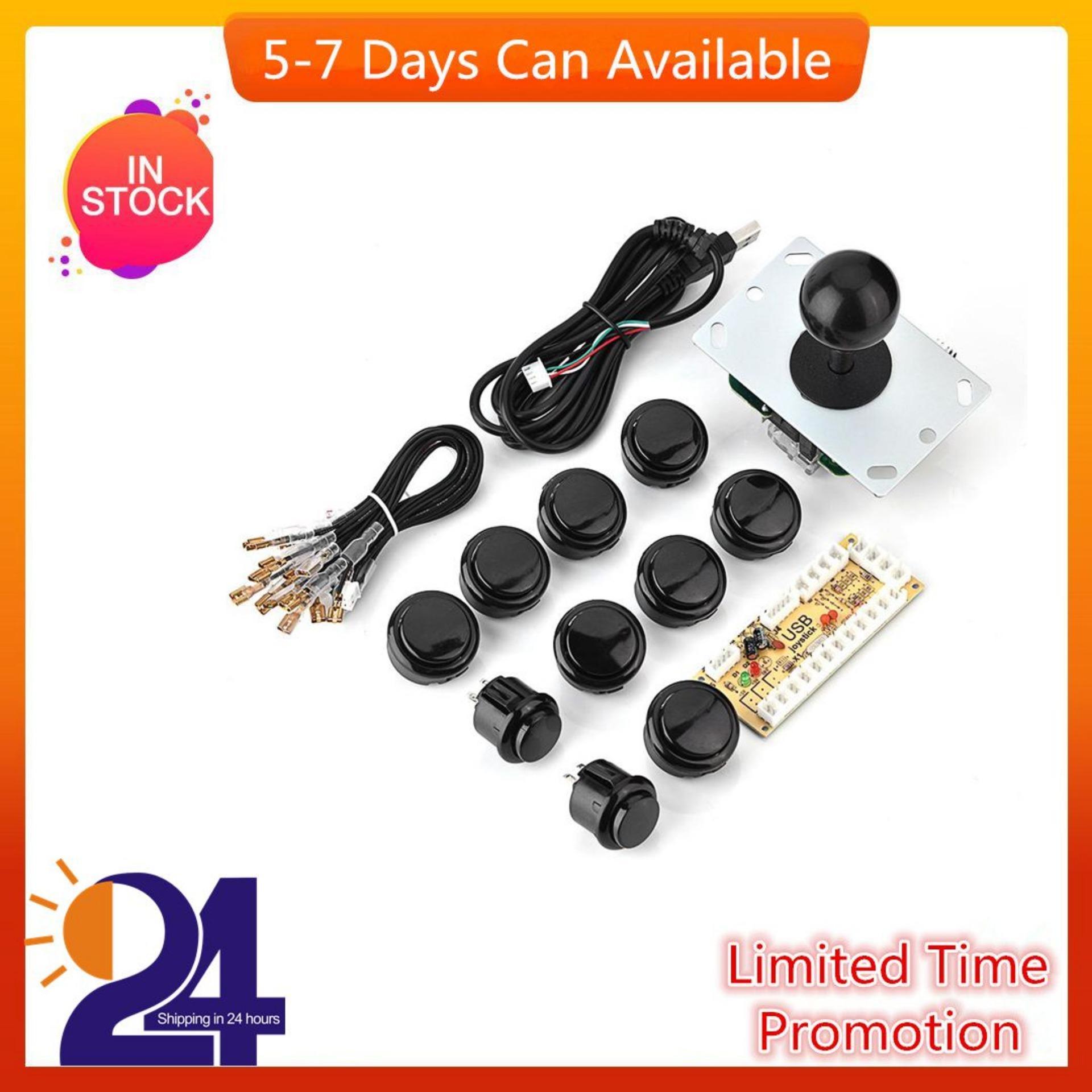 Arcade Game DIY Parts Kit Zero Delay USB Encoder + Joystick + Button for  Mame Game (Black) - intl